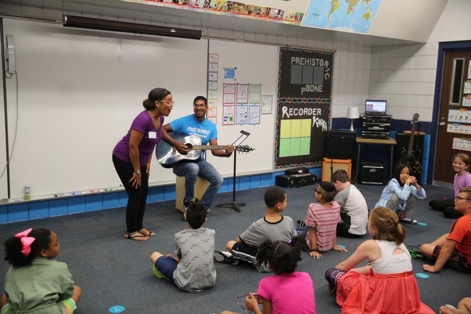 Walt Disney students in music class