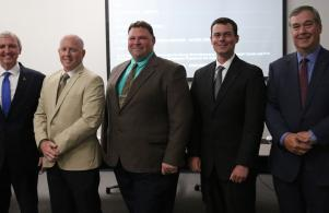New Elementary Principals introduced at Board Meeting: Kevin McMillen, Madison; Kent Mikel, Meadow's Edge; and Ryan Towner, Walt Disney (6/26/17)