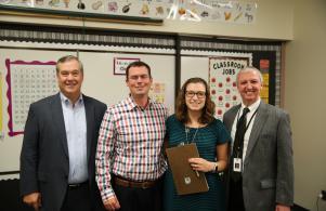P-H-M Board Pres. Gary Fox, Principal Ryan Towner, 1st grade Teacher Ms. Peluso & Supt. Dr. Jerry Thacker