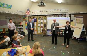P-H-M Board Pres. Gary Fox & Supt. Dr. Jerry Thacker visit Ms. Edgar's 1st grade class (8/25/17)