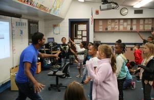Students having fun in Mr. Davidson's music class