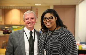 P-H-M Supt. Dr. Jerry Thacker with Kindergarten Teacher Ms. Taylor